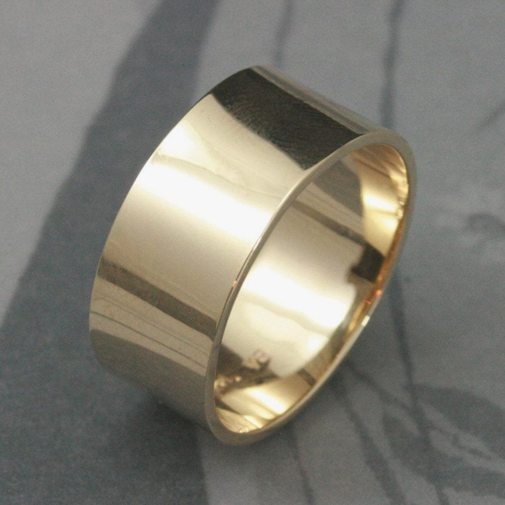 Solid 14k Gold Ultra Wide 10mm Band Mens Wedding Band Flat Etsy In 2020 Modern Wedding Rings Thick Gold Ring Diamond Finds