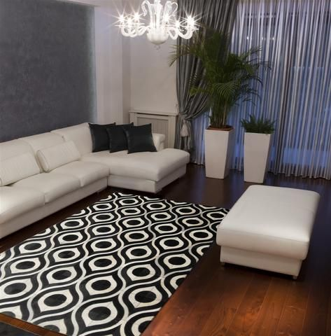 Black And White 6x9 Area Rug For Living Room