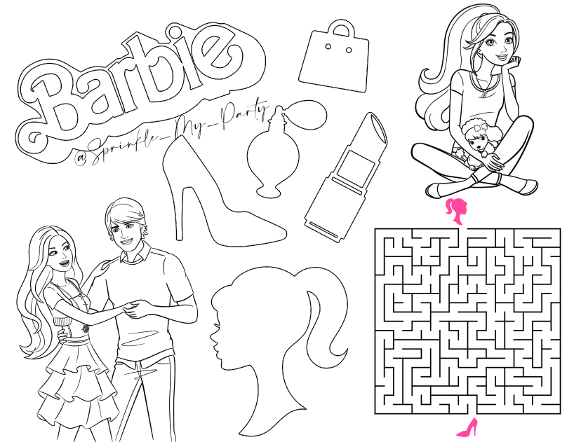 Barbie Activity Sheet Barbie Coloring Pages Barbie Birthday Activity Sheets