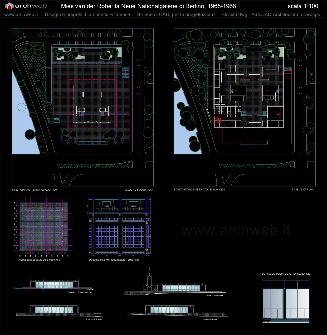 National Gallery Autocad Dwg Projetos Pinterest Autocad And Arch # Muebles Mies Van Der Rohe Autocad