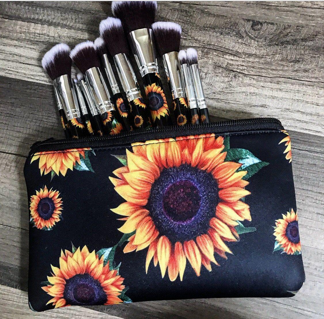 Sunflower make up bag Sunflower accessories, Makeup bag