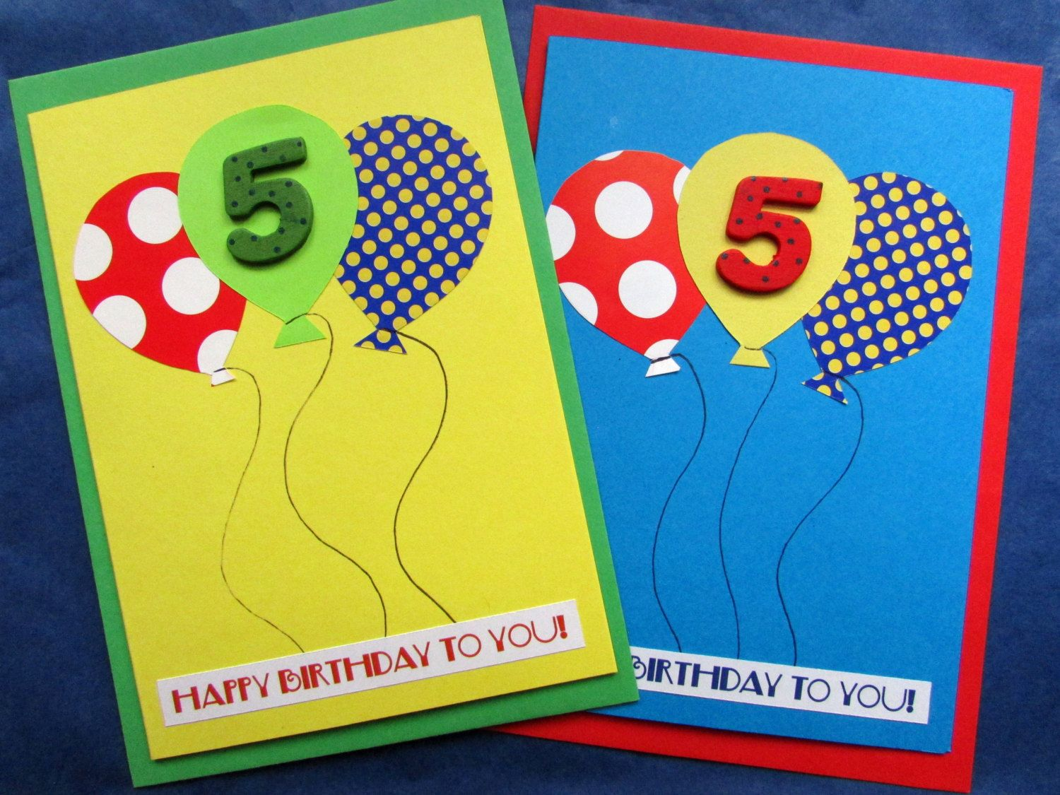 Age 5 Birthday Card With Balloons