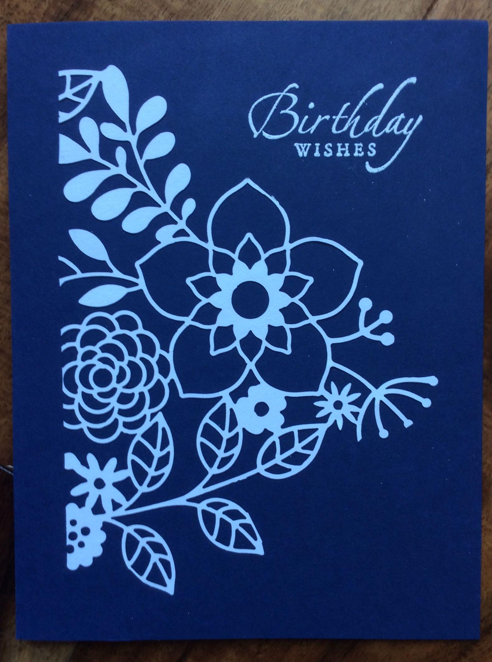 Su Laser Cut Paper Navy Card My Card Creations Pinterest Laser