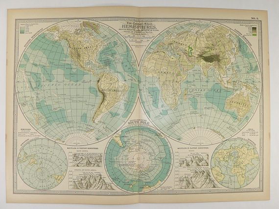1899 Vintage World Map, Western Hemisphere, Eastern Hemisphere Map, South  Pole, Antique
