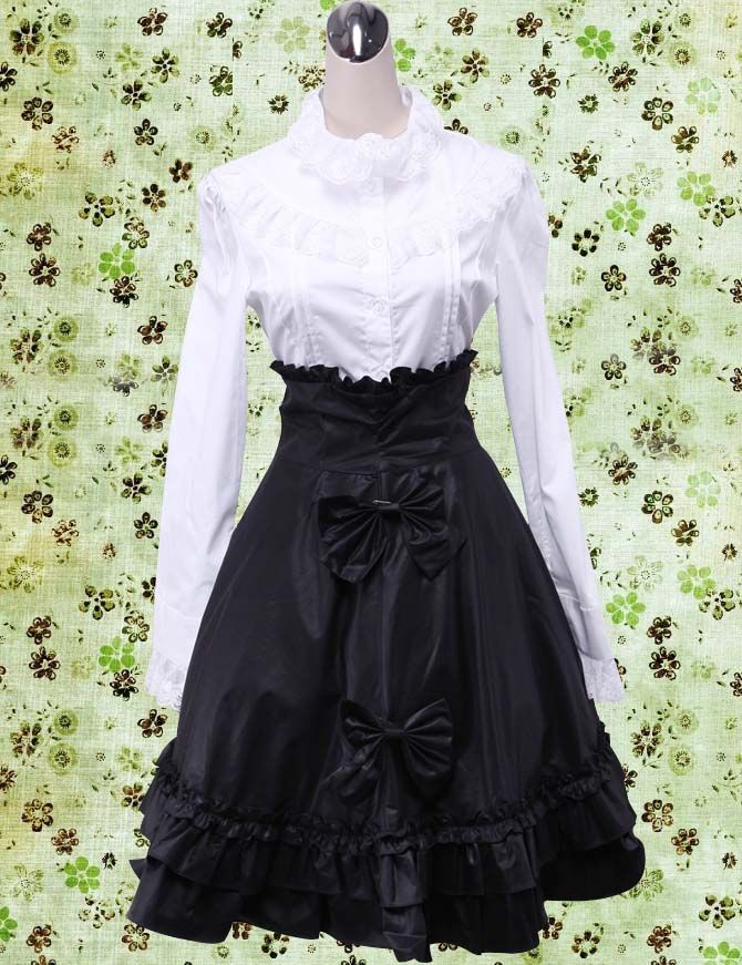 Long Sleeve White Shirt With Black Skirt Lolita Suit