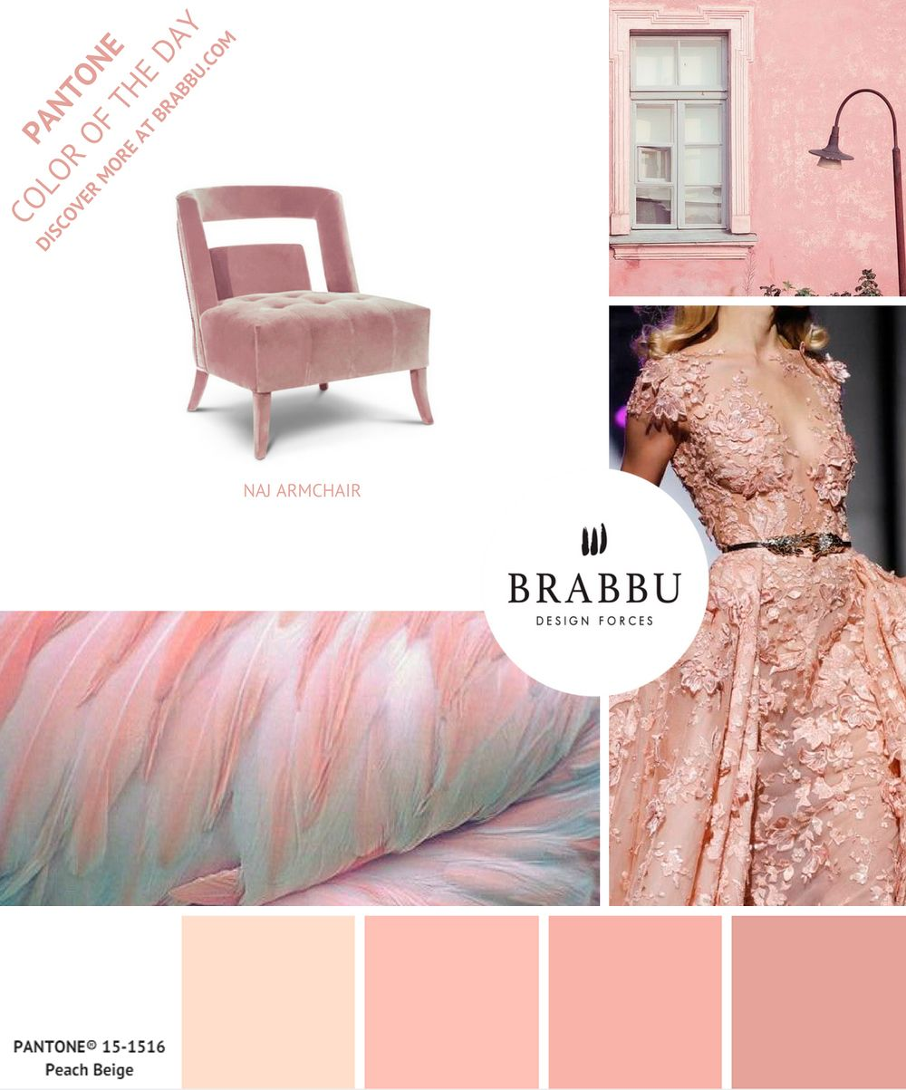 @pantonecolor Color of the Day: Peach Beige | Mood Boards. Color Trends. #colors #pantone #moodboard #interiordesign Discover more at: https://www.brabbu.com/moodboards/