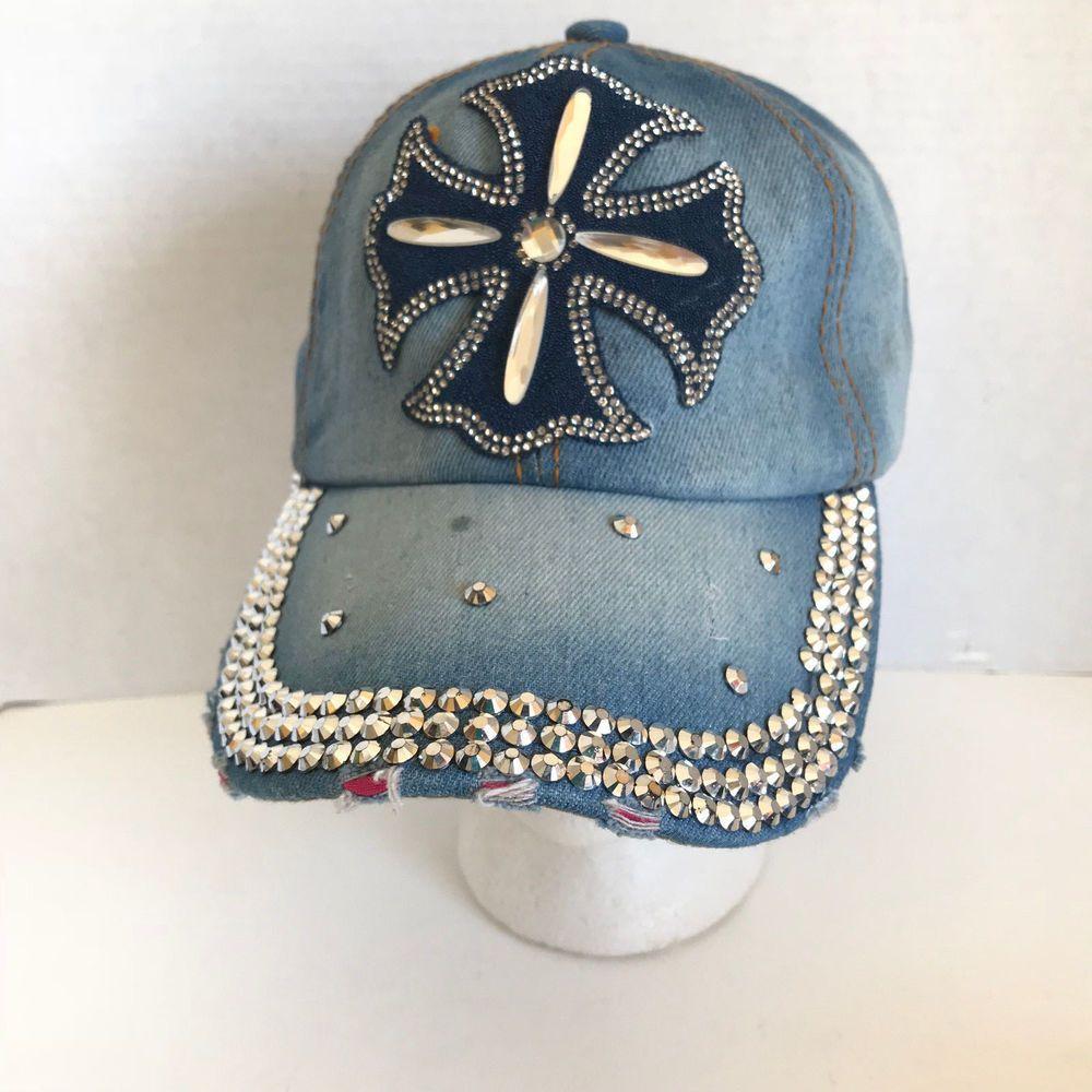 Action Imports Jean Rhinestone Cross Womens Bling Distressed Baseball Cap  Hat  ActionImports  BaseballCap  Any 579ce53ae640