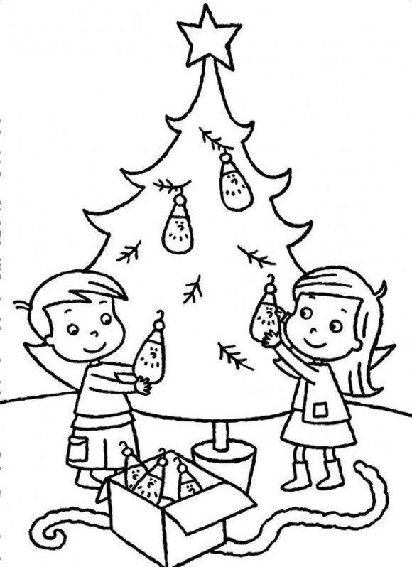 Sibling Decorating Christmas Tree Coloring Page