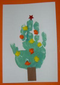 kerstkaart kerstboom van handafdruk
