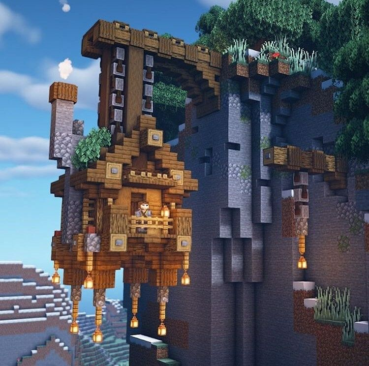 Hanging House Minecraft Architecture Minecraft Houses Minecraft Cottage