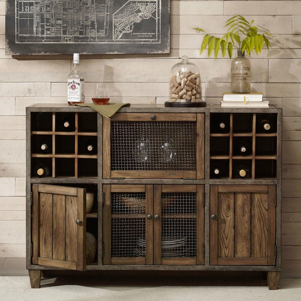 Rustic Liquor Storage Wine Rack Wood Buffet Cabinet With Distressed Finish