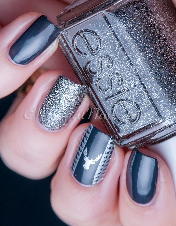 Essie Silver Skittlette with stamping nail art using a dark grey ...