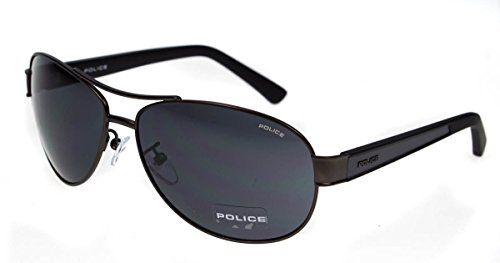 4d214374afb66e POLICE SHEER AVIATOR MENS GREY FRAME SUNGLASSES S8854 0627 63-14-135 HARD  CASE…