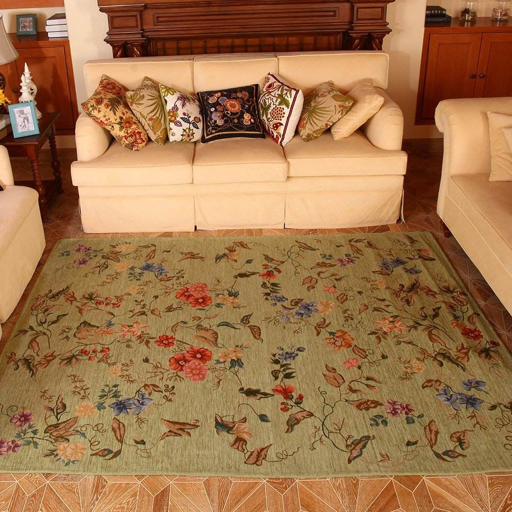 Floral Jacquard Rug In 2020 Rustic Area Rugs Cottage Rugs Country Living Room