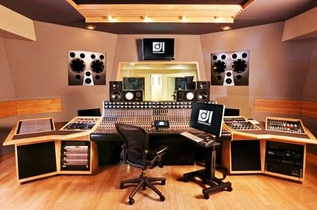 Modern Home Music Studio with Wood Tile Floor and Music Recording ...