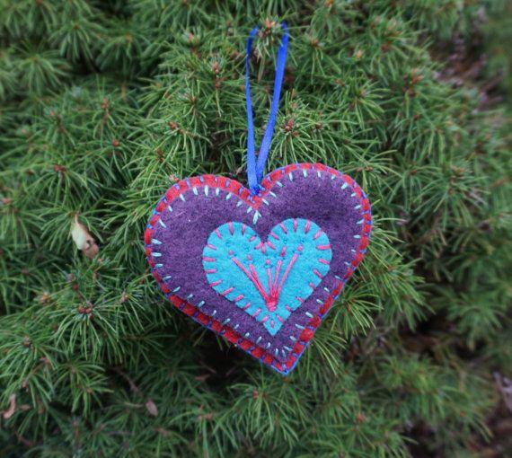 Purple Heart Felt Ornament by YoureTheOneToys on Etsy