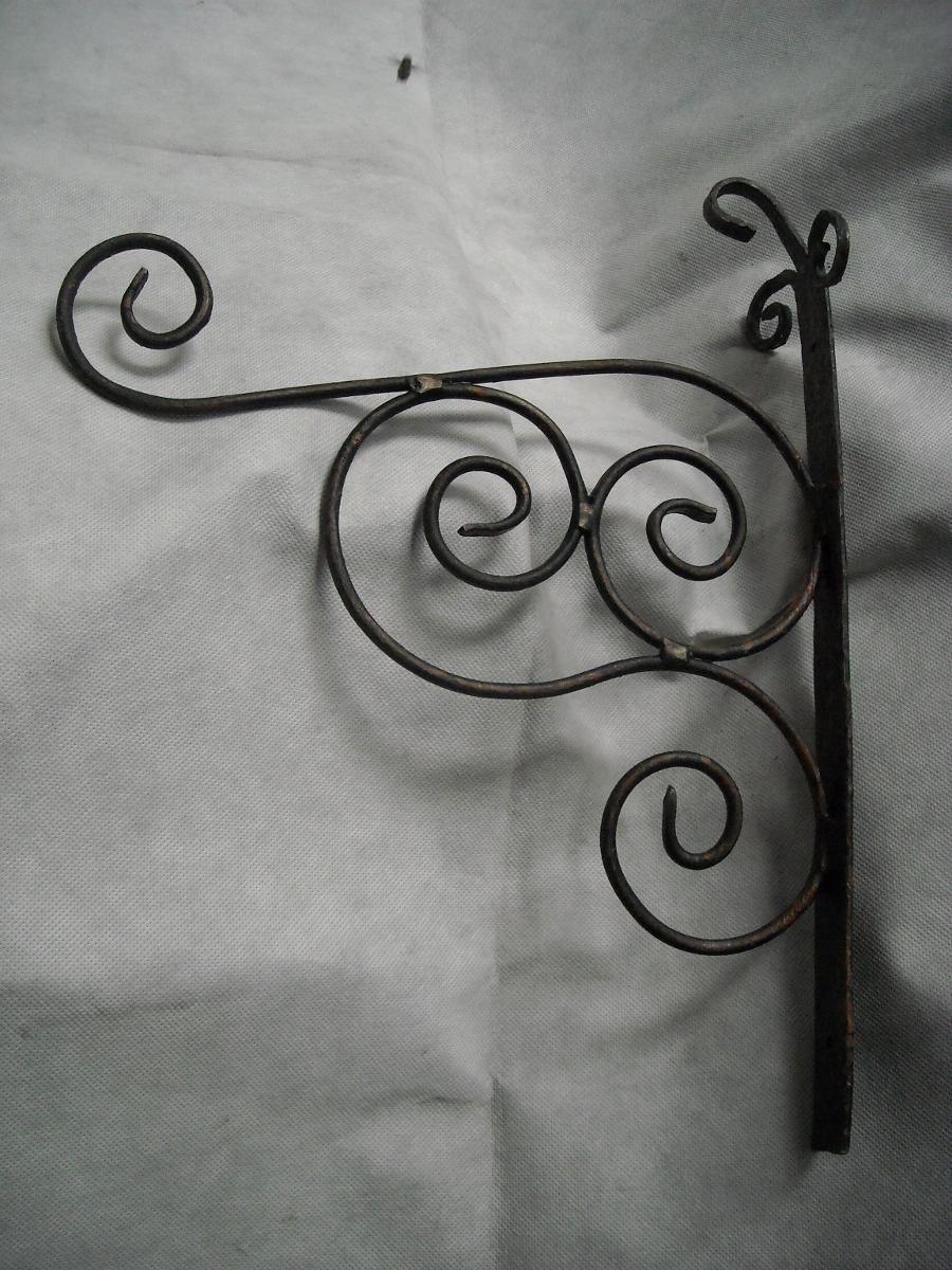 Porta maceta para pared en hierro forjado 65 00 en mercadolibre jardiner a pinterest - Colgadores de hierro forjado ...