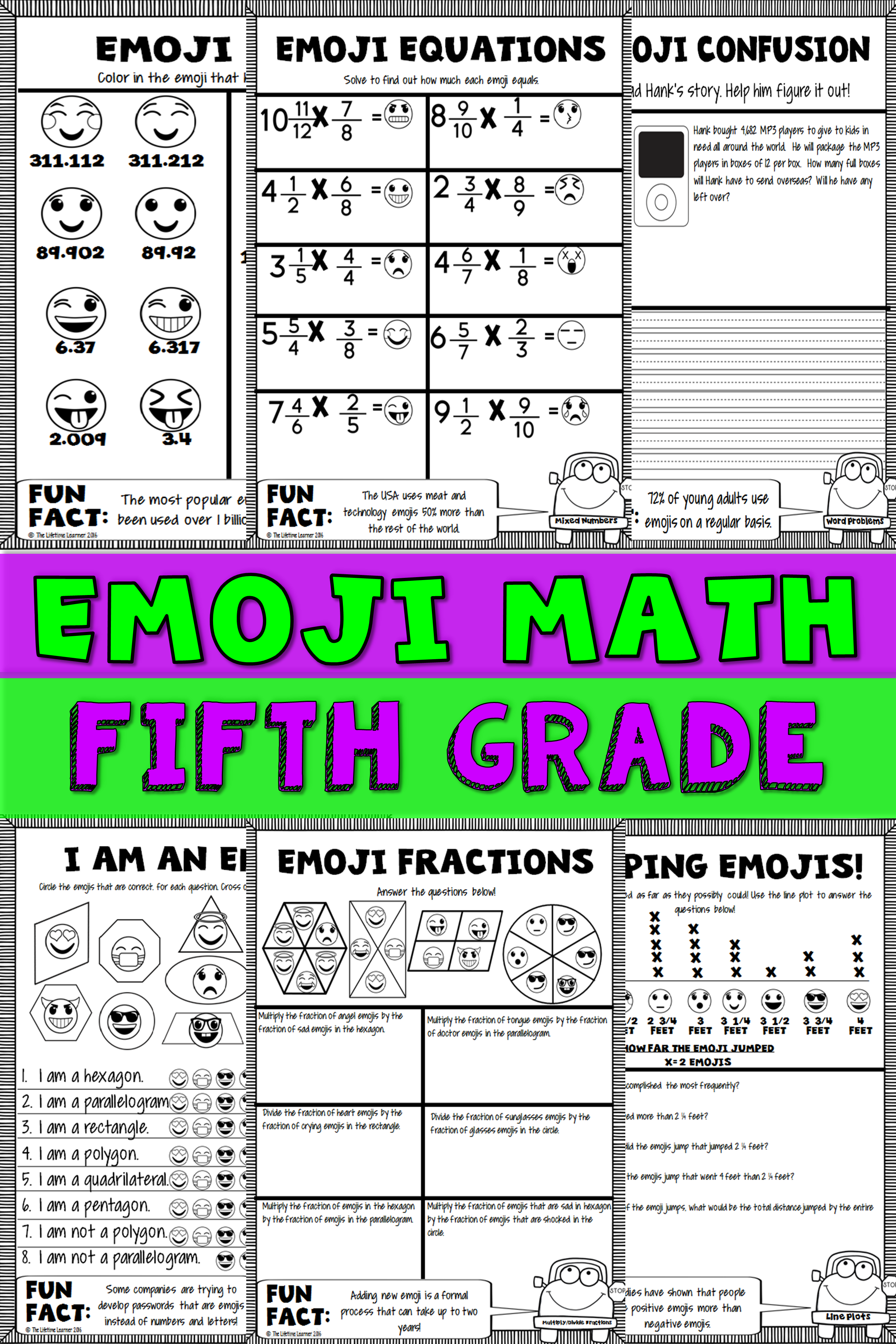 Emoji Math 5th Print And Digital Emoji Math Math Packets Fifth Grade Math [ 3684 x 2456 Pixel ]