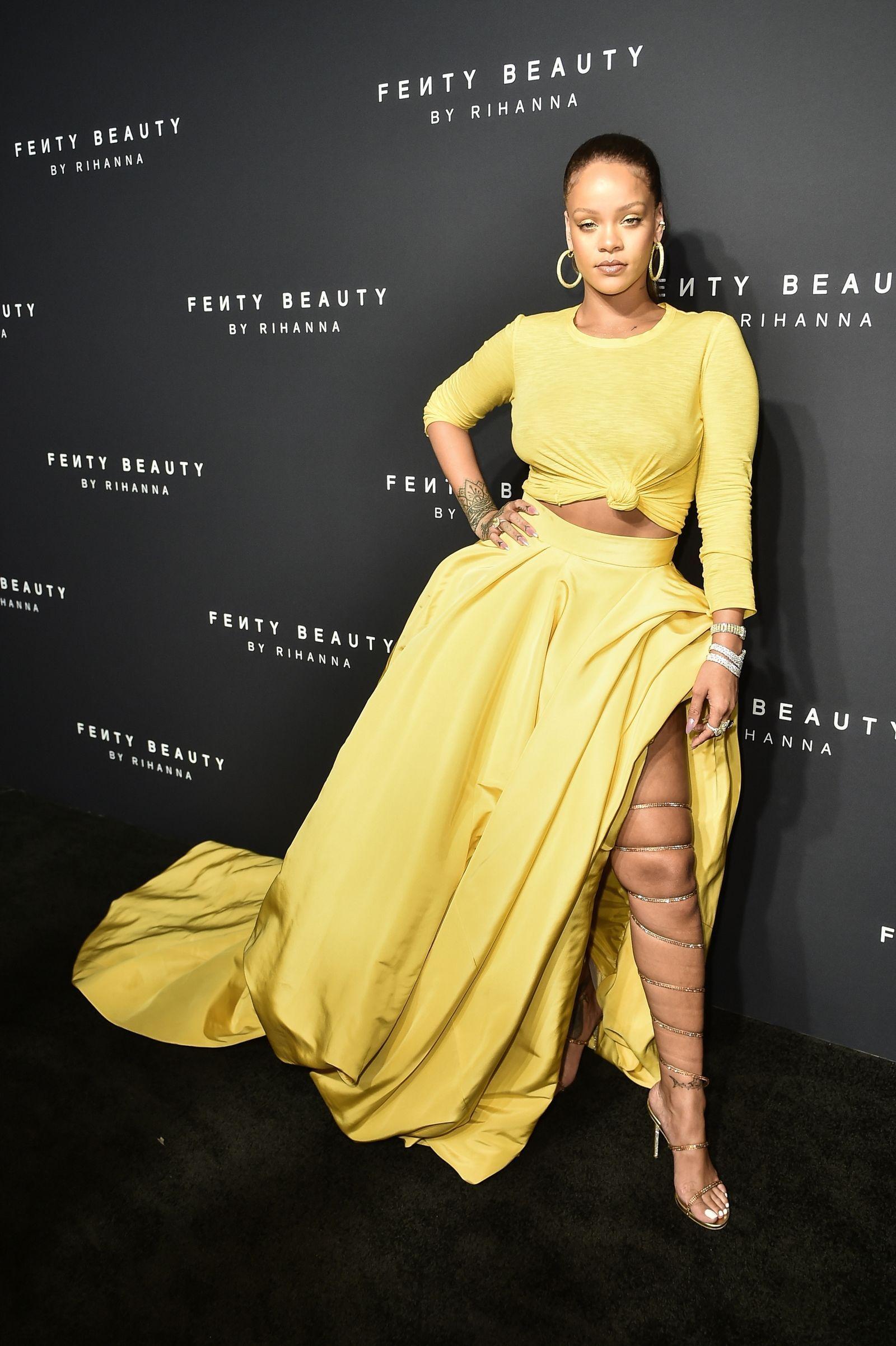 51455a35a8 Rihanna, in an Oscar de la Renta Crop Top and Giant, High-Slit Skirt at Her  Fenty Beauty Launch