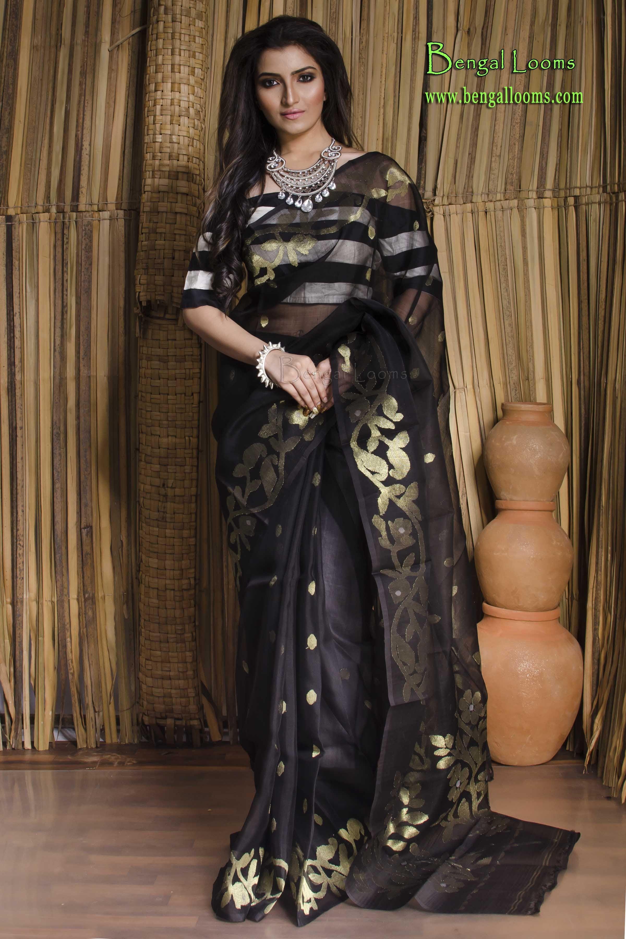 65f3b9136a9 Muslin Jamdani Saree in Black and Gold | Handwoven Jamdani Saree ...