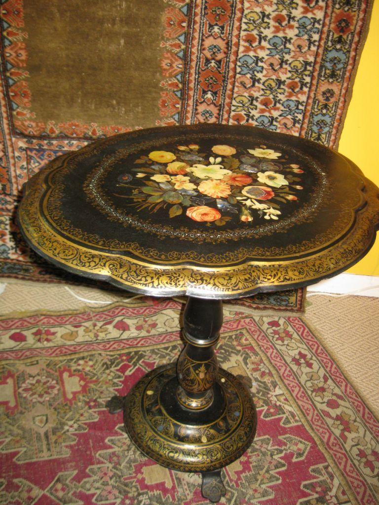 Papier Mâché Tables ( CARTA PESTA) Victorian Papier Mache Tilt Top Table