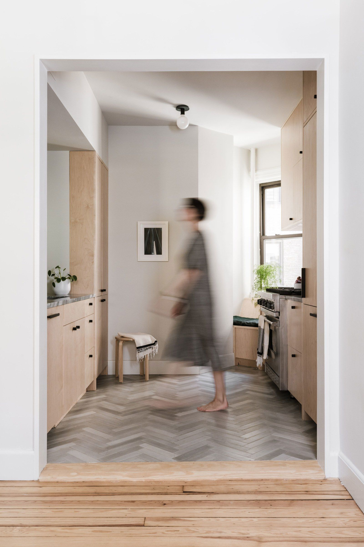 This Kitchen And Bath Reno Made Sense Of Two Very Small Spaces Chevron Tiles Floor Neutral Kitchen Chevron Tile