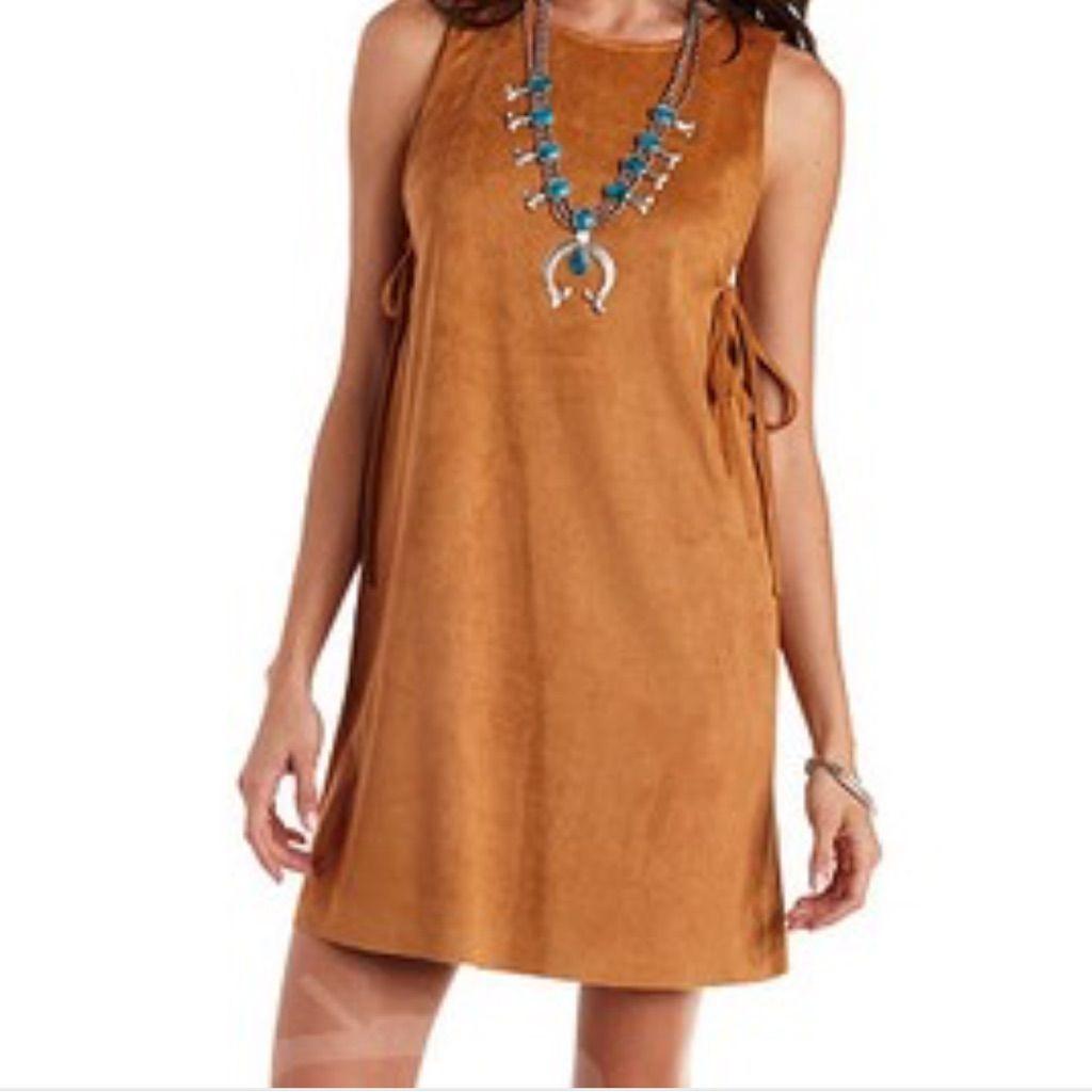 Brown Suede Western Style Dress