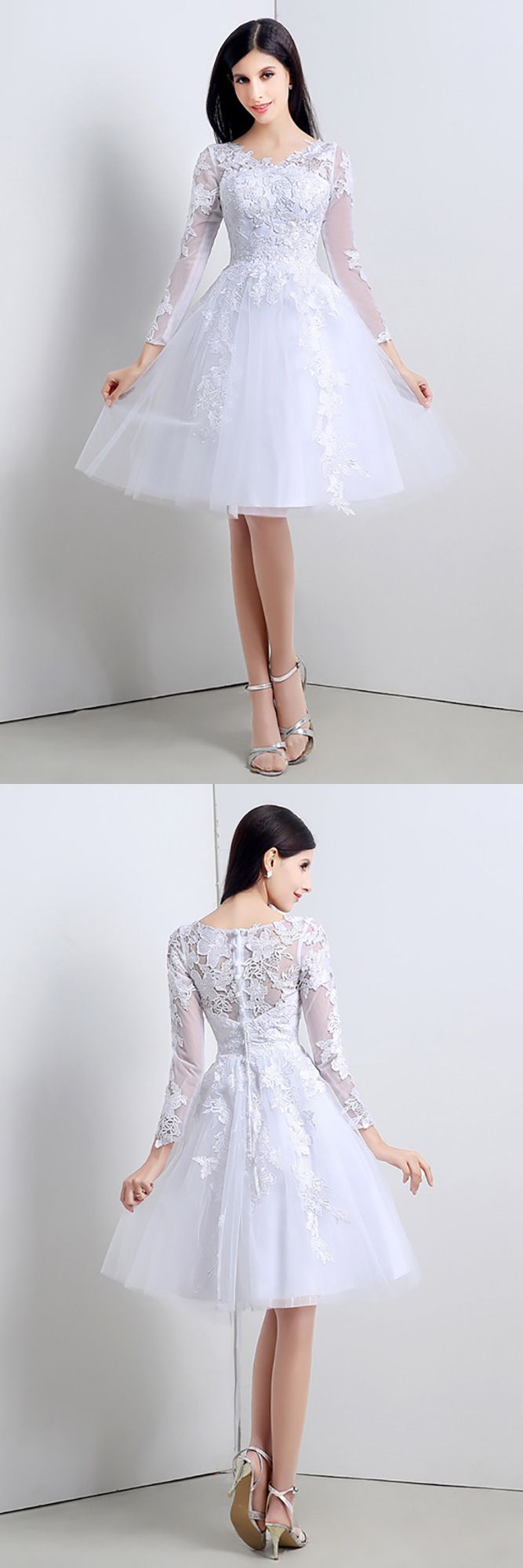 Short wedding reception dress  Modest Short Tulle Lace Wedding Dress Long Sleeved For Summer Beach
