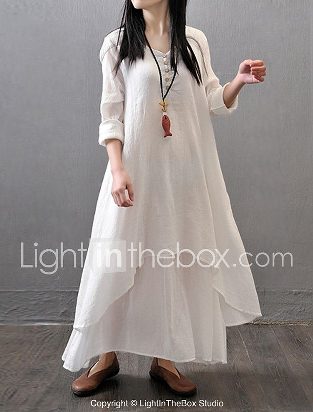 ab777ab6d71dc Women s Plus Size Chinoiserie Cotton A Line Loose Dress - Solid Colored  White Maxi 2018 -  19.99