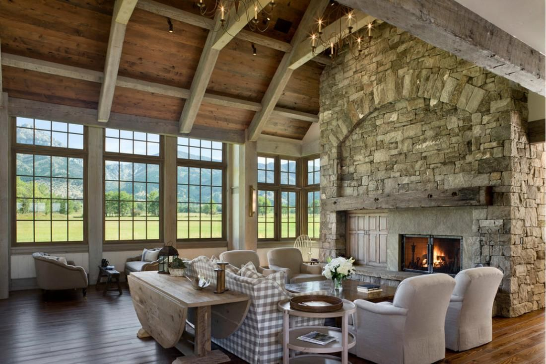 Window well decor  rustic interior design idea living room with fireplace on stone wall