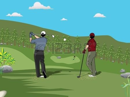 Rear view of golf players playing golf