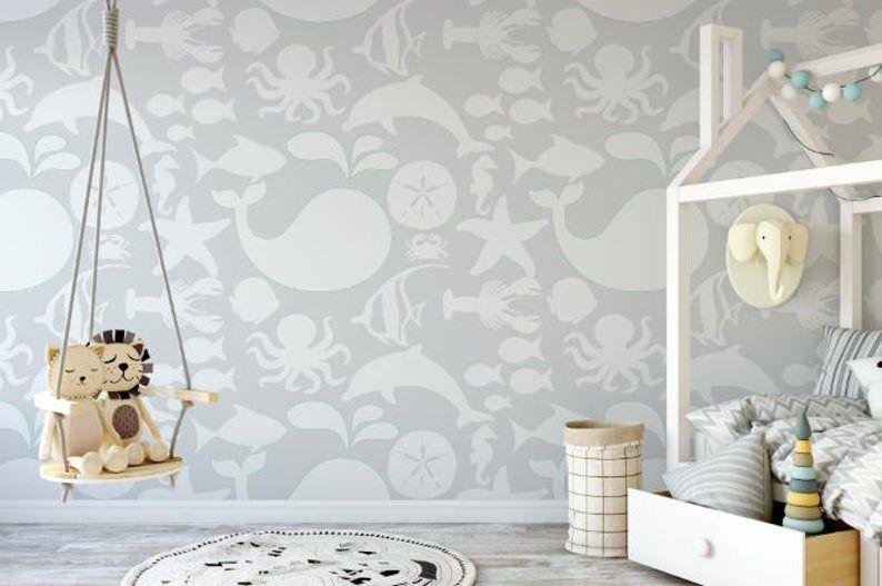 Gray Sea Life Wallpaper Removable Wallpaper Peel And Etsy Removable Wallpaper Peel And Stick Wallpaper Prepasted Wallpaper