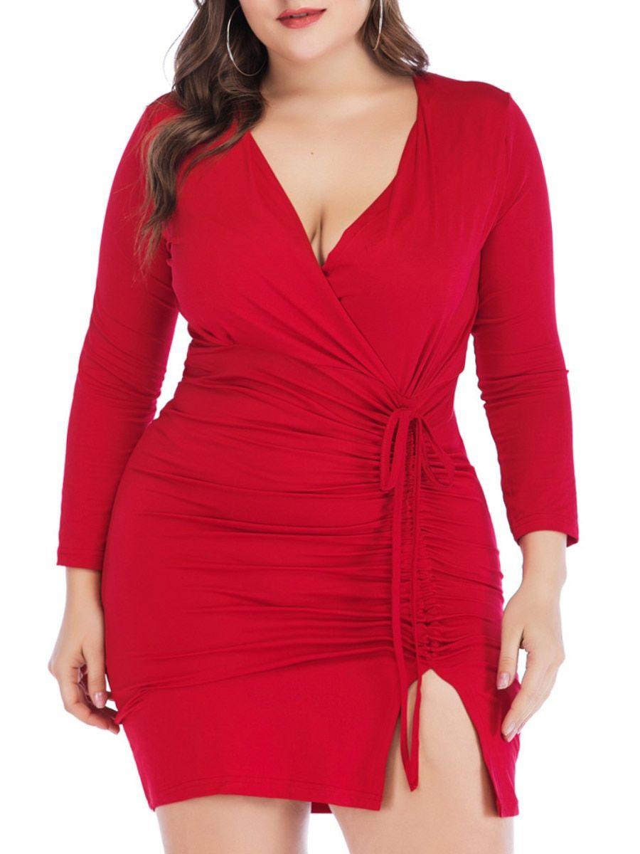 Buy Women S Plus Size Dress Split Design Bow Decoration Solid Color Dress Plus Size Dresses At Jo Bodycon Dress Plus Size Bodycon Plus Size Bodycon Dresses [ 1200 x 900 Pixel ]