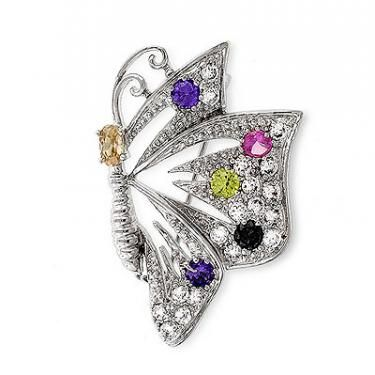 Stunningly Bright Womens White Gold Rhodium Plated 1/4 CTW Cubic Zirconia Colorful Butterfly Brooch Auction