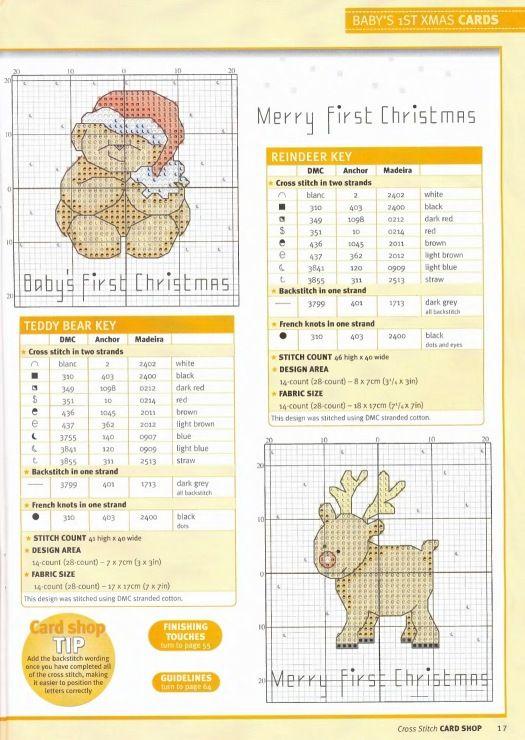 Baby´s first Christmas 2 free cross stitch patterns | NAVIDAD PUNTO ...