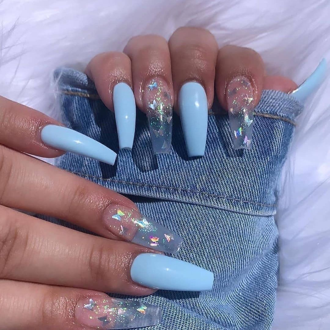 Blue Butterfly Coffin Nails In 2020 Best Acrylic Nails Glamour Nails Pretty Acrylic Nails