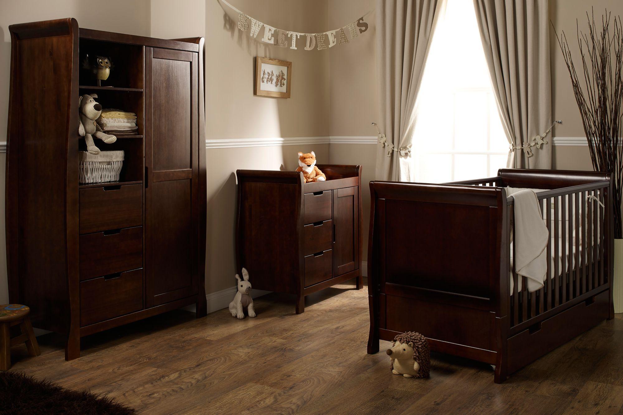 Obaby Lincoln Sleigh 3 Piece Nursery Furniture Set Dark