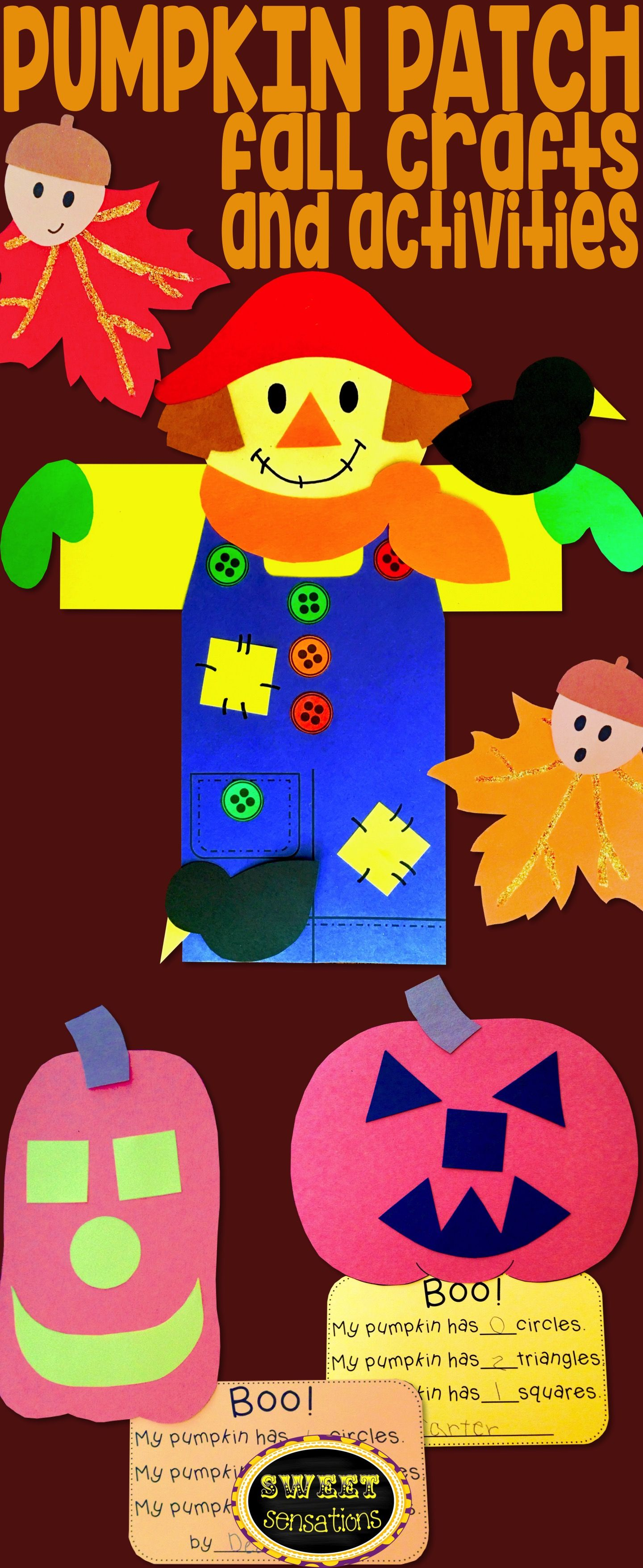 Fun to make elementary aged fall craft activities to brighten your school pumpkin patch bulletin boards with scarecrows, leaves and pumpkins.  Use to decorate through autumn and Halloween! #pumpkinpatchbulletinboard