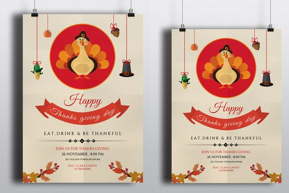Thanksgiving Invitation  FlyerV By Template Shop On Creative