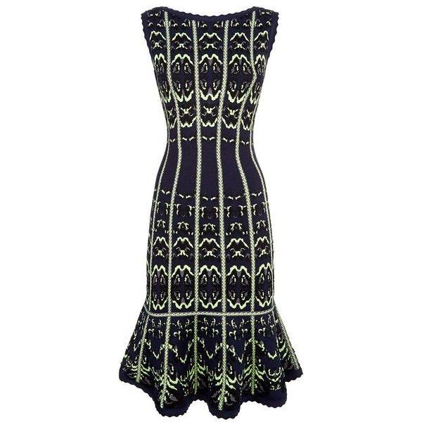 Herve Leger Kateryna Animal Jacquard Dress ($1,815) ❤ liked on ...