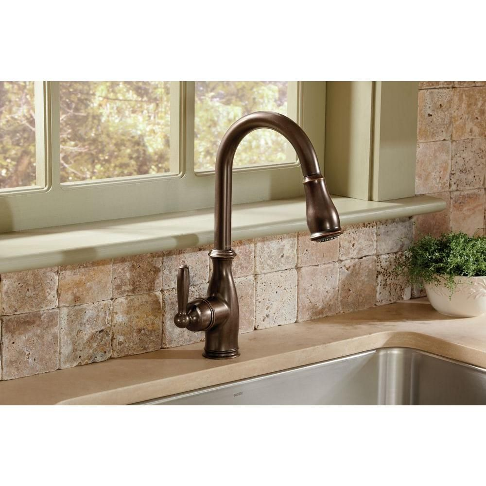 MOEN Brantford Single-Handle Pull-Down Sprayer Kitchen Faucet with ...