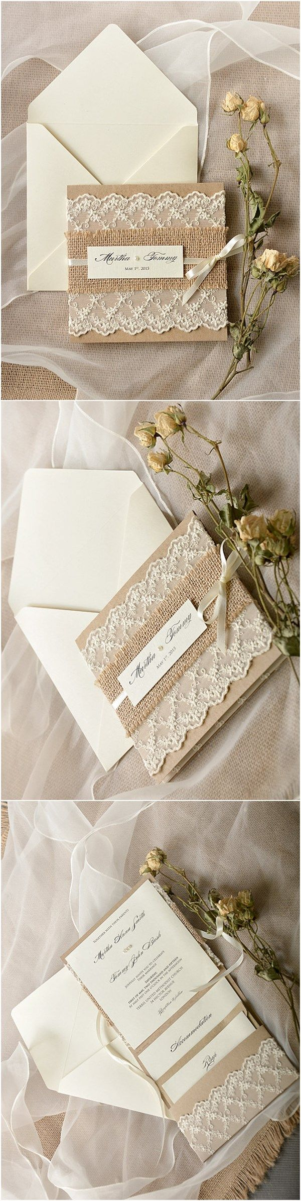 30 Our Absolutely Favorite Rustic Wedding Invitations | Burlap lace ...