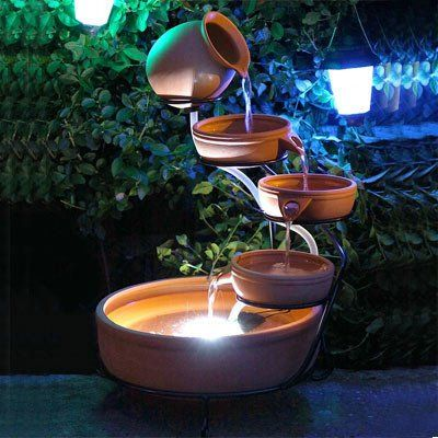 Solar Powered Terracotta Cascade Water Feature With Led 400 x 300