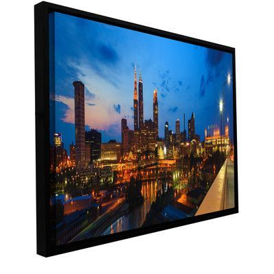 "ArtWall 'Cleveland 8' by Cody York Framed Photographic Print on Wrapped Canvas Size: 12"" H x 36"" W x 2"" D"