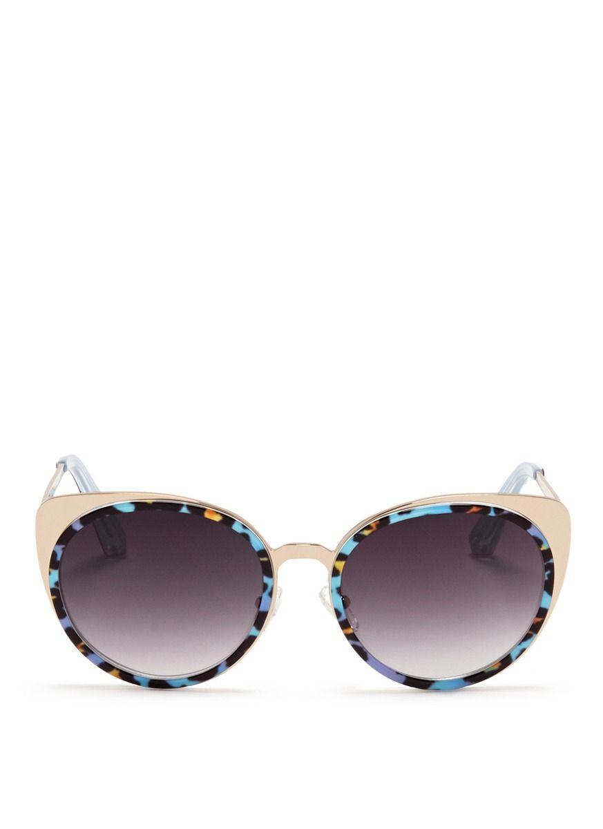 3d0d5a908c3 Matthew Williamson X Linda Farrow Leopard Acetate Border Steel Sunglasses  in Multicolor (Metallic