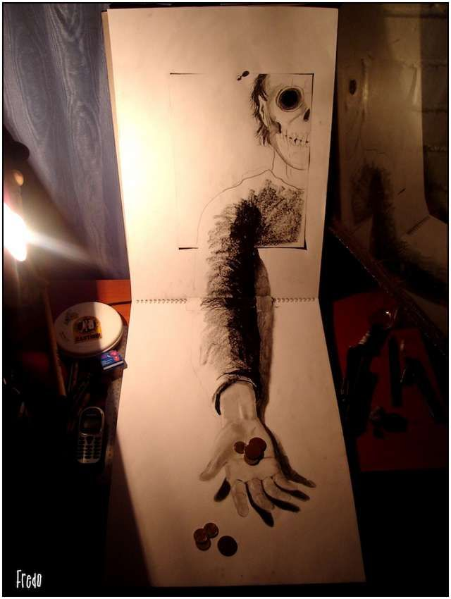 Incredible and Scary 3D Pencil Drawings by 17-year old Fredo.  http://www.fludit.com/inspiration/incredible-and-scary-3d-pencil-drawings-by-17-year-old-fredo.html