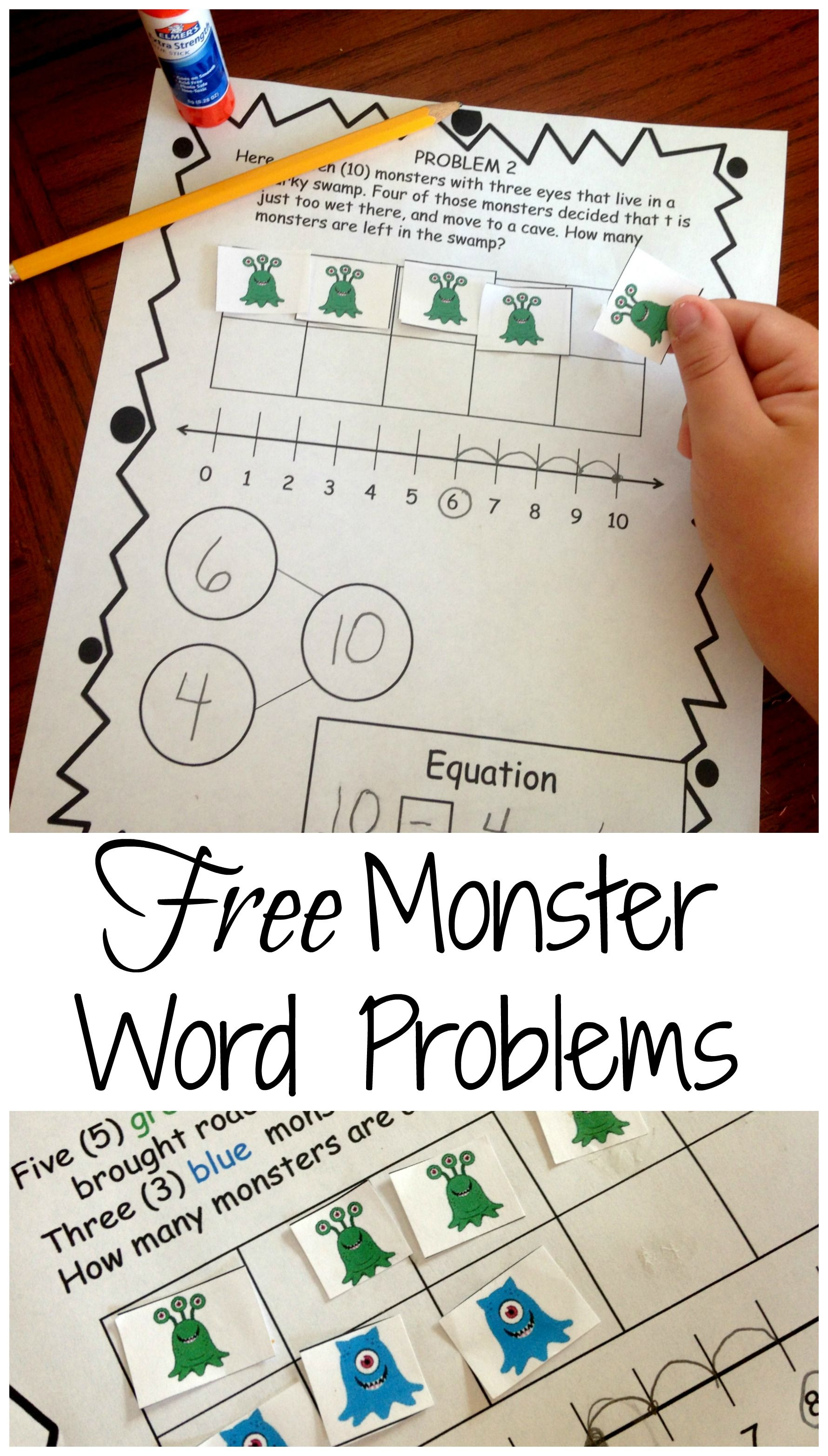 Need To Teach Word Problems Free Monster Word Problems