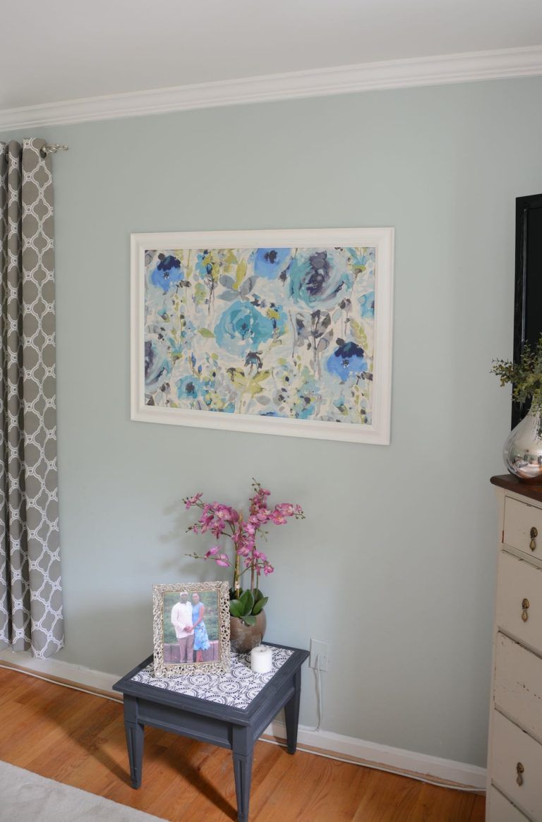 Sherwin williams sea salt and rainwashed rainwashed master bedroom makeover with framed fabric wall art thrift diving