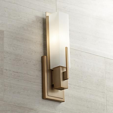 "Midtown 15"" High White Glass Burnished Brass Wall Sconce  Modern Cool Wall Sconces Bathroom 2018"