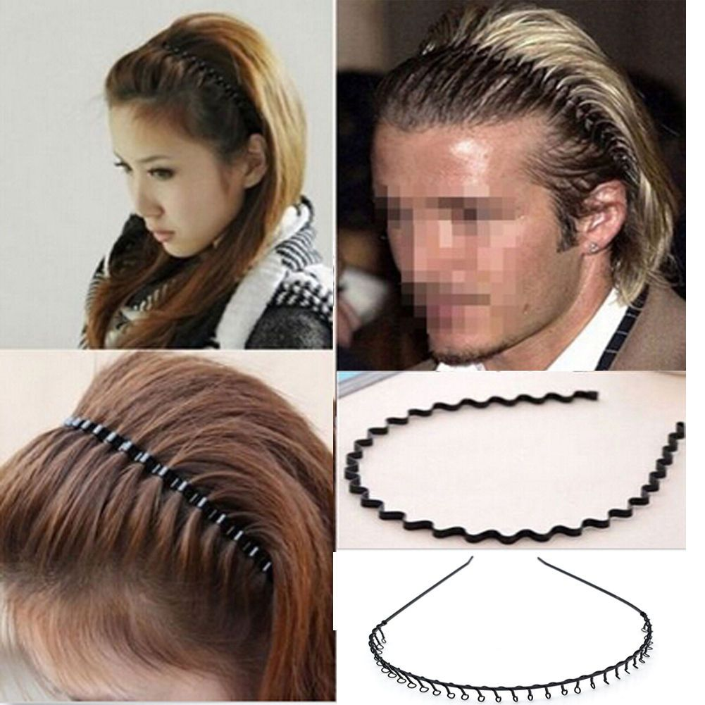 Men Women Zig Zag Alice Hair Band Metal Wave Toothed Casual Sports Headband  2018 0e5836a66a5